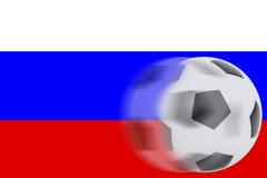 Fútbol en la bandera de Rusia Imagen de archivo libre de regalías