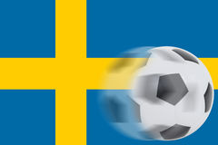 Fútbol en la bandera de Suecia Fotos de archivo libres de regalías