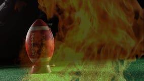 Fútbol en la quema de la camiseta y del fuego ilustración del vector