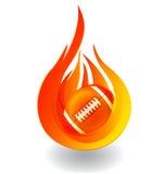Fútbol en logotipo del fuego Imágenes de archivo libres de regalías