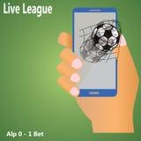 Fútbol en móvil Imágenes de archivo libres de regalías