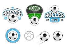 Fútbol, etiquetas del vector del fútbol, emblemas, logotipos e insignias europeos ilustración del vector