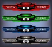 Fútbol Live Scoreboard Imágenes de archivo libres de regalías
