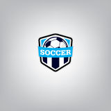 Fútbol Logo Design Template, identidad del equipo de la insignia del fútbol, gráfico de la camiseta del fútbol del fútbol Foto de archivo libre de regalías