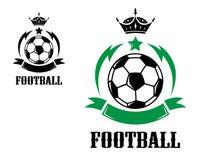 Fútbol o crestas y emblemas del fútbol Foto de archivo libre de regalías