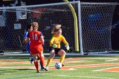 Fútbol para mujer del NCAA DIV III de la universidad Imagenes de archivo