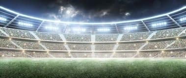 fútbol stadium Arena de deporte profesional Estadio de la noche debajo de la luna con las luces Panorama imagen de archivo libre de regalías