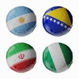 Fútbol WorldCup 2014. Grupo F. Football/balones de fútbol. Imagen de archivo libre de regalías