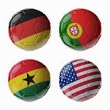 Fútbol WorldCup 2014. Grupo G. Football/balones de fútbol. Fotos de archivo libres de regalías
