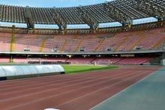 Fútbol y campo atlético Imagen de archivo libre de regalías