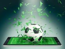 Fútbol y nueva tecnología de comunicación ilustración del vector