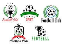 Fútbol y símbolos o emblemas del fútbol Imagen de archivo