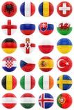 Fútboles con las banderas Fotos de archivo