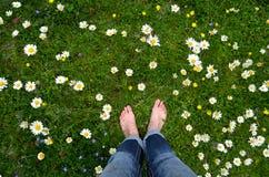 Füße auf einer Blumenwiese Lizenzfreie Stockbilder