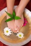 Füße der Frau in der Schüssel Wasser Lizenzfreie Stockbilder