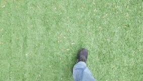 Füße, die auf das Gras POV gehen stock video