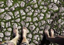 Füße, die auf dem trockenen Land stehen Stockfoto