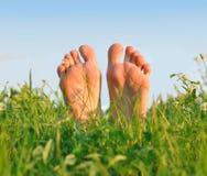 Füße in einem grünen Gras Stockfoto