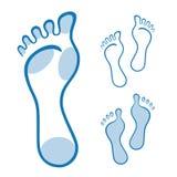 Füße Illustration gemacht mit gekrümmten Linien Stockbilder