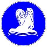 Füße im obligatorischen Verkehrsschild der Pantoffel Stockfotografie