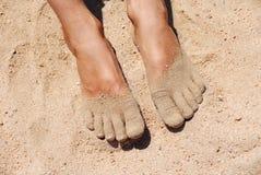 Füße im Sand Stockfotos
