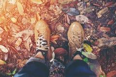 Füße Paar-Mann, dielebensstil-Reisekonzept das im Freien waterfal wandern Stockbild