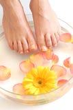 Füße und Blumen Stockfotografie