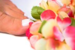 Füße und Blumen Stockbild