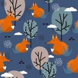 Füchse, Bäume und Wolken, buntes nettes nahtloses Muster stock abbildung