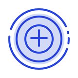Fügen Sie mehr plus Linie Ikone der blauen punktierten Linie hinzu vektor abbildung