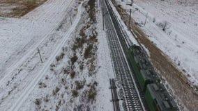 Führen der Serie Lokomotive von oben Luftschuß stock video