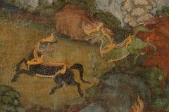 Führen Sie alte Malerei auf der Wand in Wat Suthat-Tempel einzeln auf Lizenzfreies Stockbild