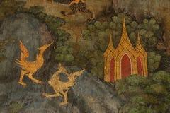 Führen Sie alte Malerei auf der Wand in Wat Suthat-Tempel einzeln auf Stockfoto