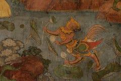 Führen Sie alte Malerei auf der Wand in Wat Suthat-Tempel einzeln auf Lizenzfreies Stockfoto