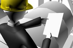 Führen Sie das Überwachen des Prozesses der Arbeit über Site aus Stockbild