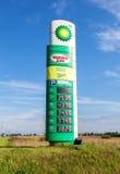 Führen Sie das Zeichen, angezeigt dem Preis des Brennstoffs auf dem BP-Gas statio Lizenzfreie Stockfotografie