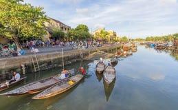 Führer bei Thu Bon River, Hoi An, Vietnam Lizenzfreie Stockfotos