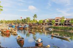 Führer bei Thu Bon River, Hoi An, Vietnam Stockfotos