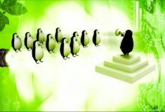 Führer des Pinguins 3d, der der Gruppe Pinguine illustratio Rede gibt Stockfotos