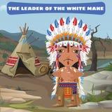 Führer Indian, Lager in der wilden Landschaft lizenzfreie abbildung
