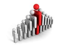 Führungskonzept mit roter großer menschlicher Ikonenzahl Lizenzfreie Stockfotos