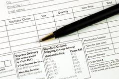 Füllen Sie das Auftragsformular aus Lizenzfreies Stockfoto