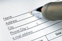 Füllen Sie das Namens- und die Adresse aus Lizenzfreie Stockbilder