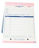 Füllen Sie unbelegte Verpackungs-Belege auf, die Rechnungen Weiß trennten stockfotos