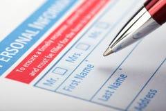 Füllende Dokumenten-Form lizenzfreie stockfotografie