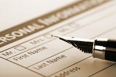 Füllendes Dokumenten-Formular Stockbild