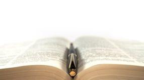Füllfederhalter auf dem Buch Lizenzfreie Stockfotos