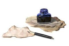 Füllfederhalter und Tinte Stockfotos