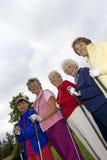 Fünf ältere Golfspieler Stockfoto