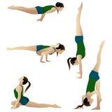 Fünf Abbildungen übendes Yoga der jungen Frau Lizenzfreie Stockbilder